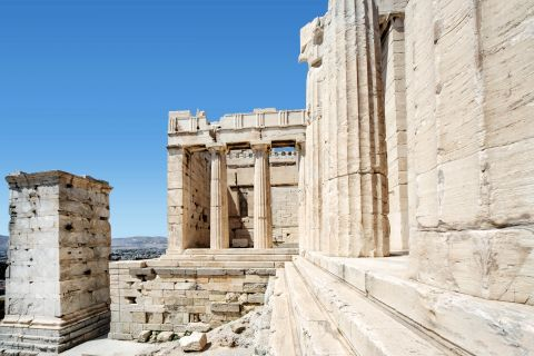 Architectural details of Parthenon, the popular ancient temple on the Acropolis hill.