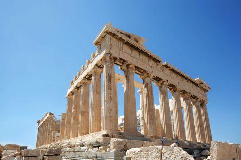 The Parthenon temple on Acropolis hill.