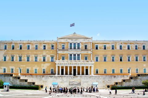 The building, in which the Greek Parlianmt is housed.