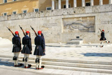 The Tomb of the Unknown Soldier, which is guarded by the Evzones of the Presidential Guard