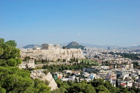 Distant view of the Acropolis hill.