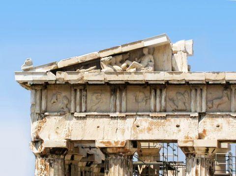 Decorative figures on the Parthenon.