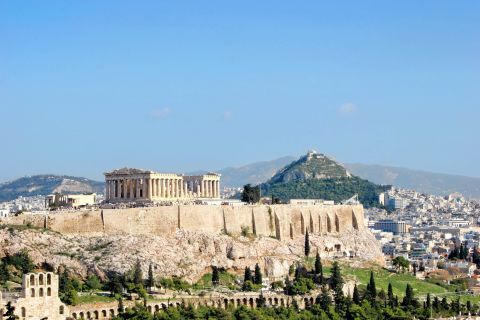 Distant view of the Parthenon and Acropolis Hilli,