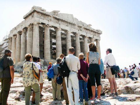 Tourists on the Acropolis