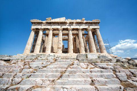 The Parthenon on the Acropolis hill.