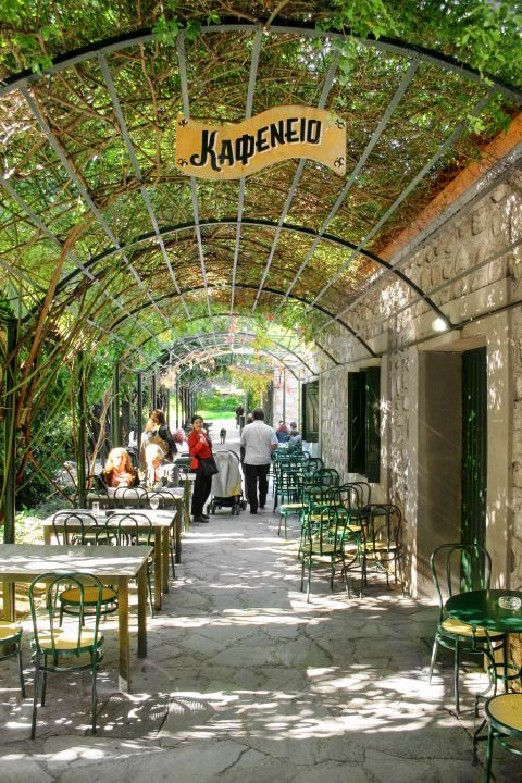 A traditional, Greek cafe inside the premises of the National Garden.