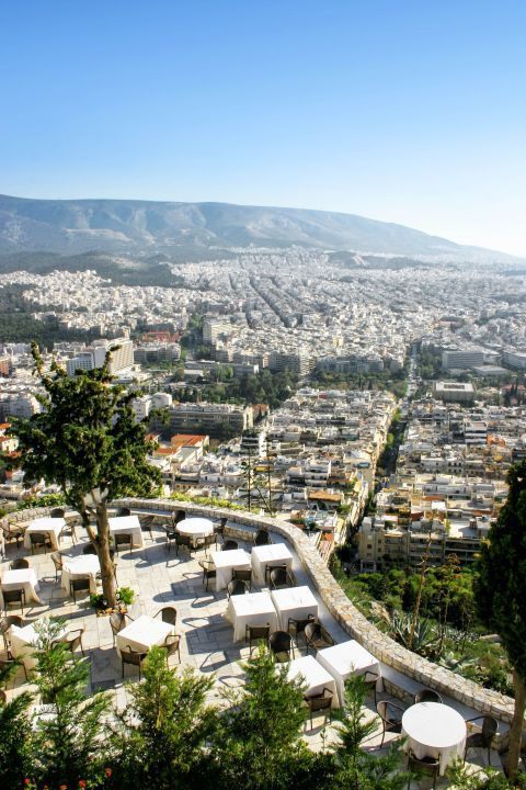 Eat and drink on top of Lykavitos hill and enjoy the spectacular view.
