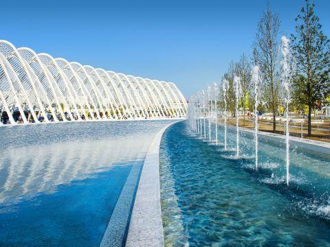 Impressive fountains at OAKA stadium.