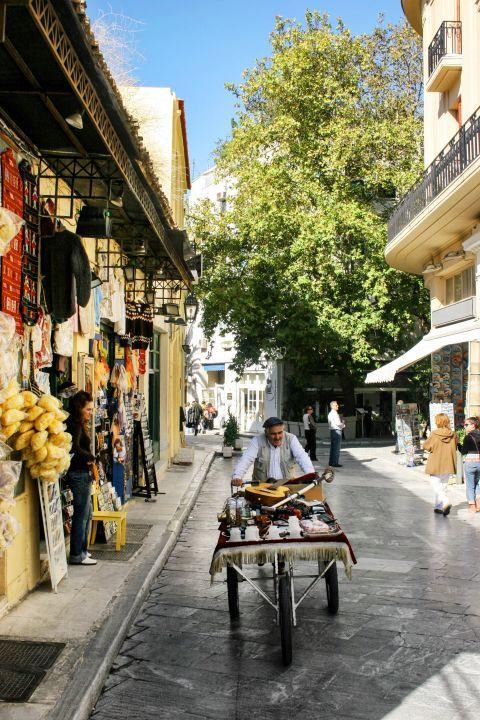 Tourist shops and street vendors in Monastiraki.