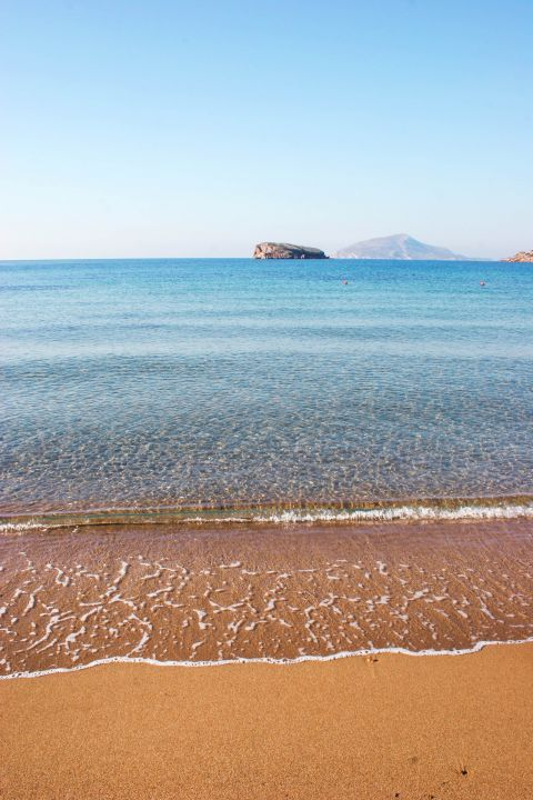 Sandy shore and endless sea view. The lovely beachfront of Sounion.