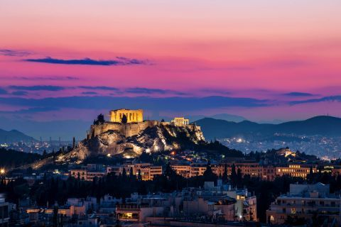 View of the Acropolis and the Parthenon in night time.