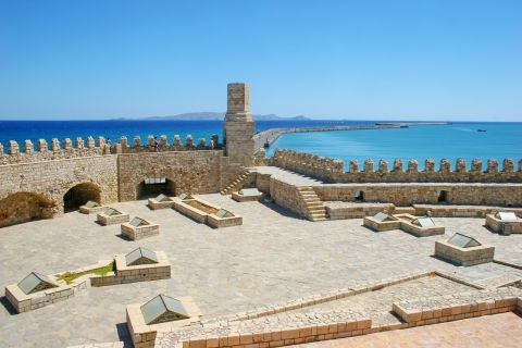 Behind the castle walls of Koules fortress. Heraklion, Crete.
