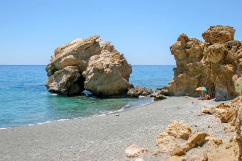 Rock formations on Tertsa beach. Heraklion, Crete.