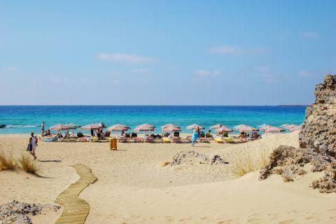 An organized spot on Falasarna beach. Chania, Crete.