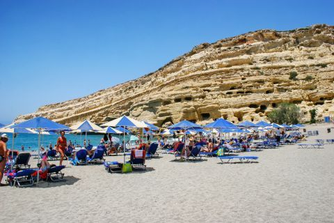 Matala beach is one of the most popular tourist destinations.