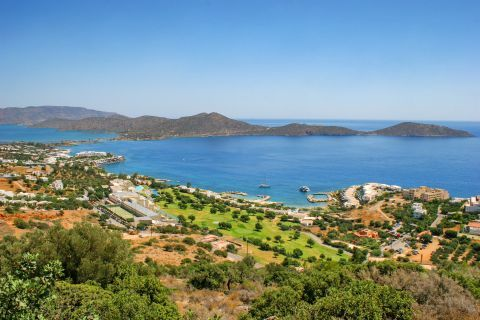 View of Elounda, its green spots and relaxing sea view