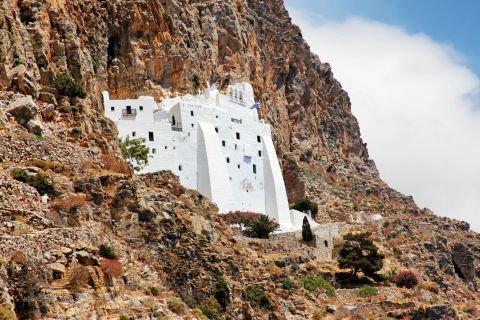 The Monastery of Hozoviotissa is built on the slopes of a rock