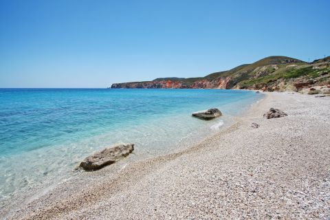 Amazing, azure waters. Voudia beach, Milos.
