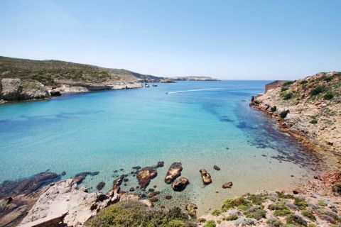 Beautiful sea view. Agathia beach, Milos.
