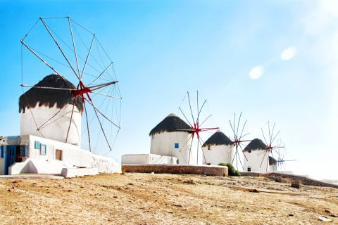 Traditional windmills in Chora