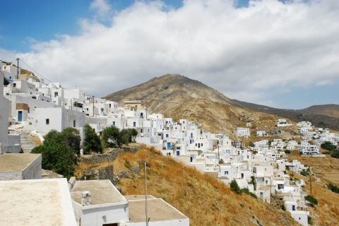 Whitewashed buildings, constructed close to each other. Chora, Serifos.