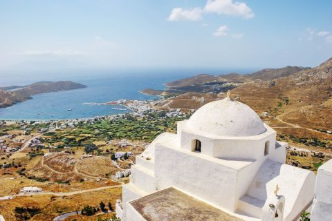 White painted church overlooking Chora