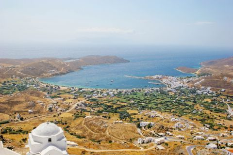 Great panoramic view of the port, the island and the Agean sea.
