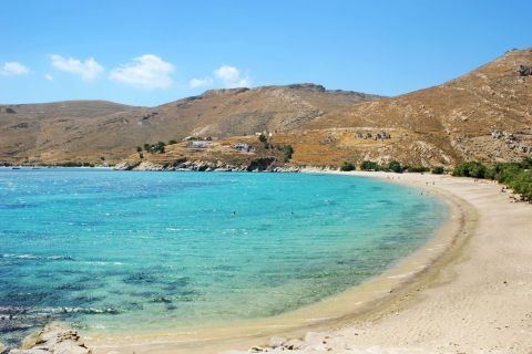 Turquoise waters and soft sand. Ganema beach, Serifos.