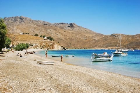 A quiet beach with some fighing boats close to the shore. Koutalas beach, Serifos.