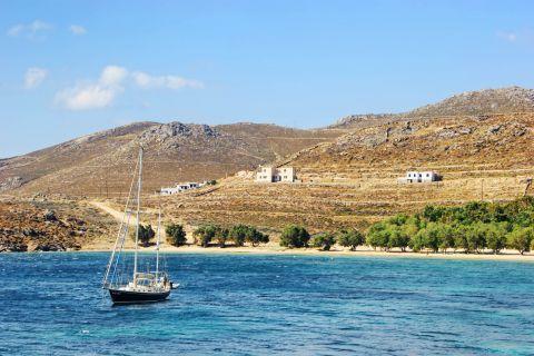 Approaching Livadakia beach by boat.