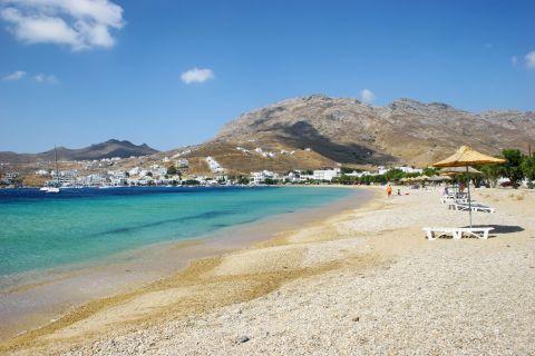A beautiful beach with some tourist facilities around it. Livadi beach.