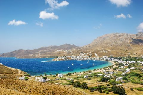 Panoramic view of Livadi settlement and its lovely port.