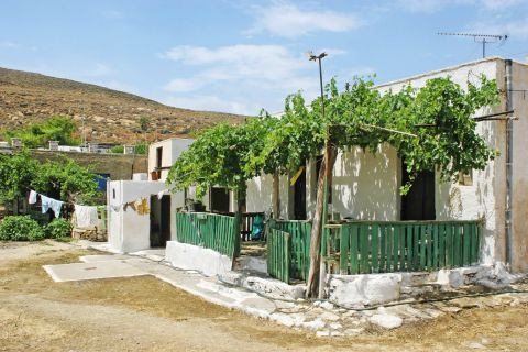 A lovely house painted in white color, with a lovely yard that is shaded by vines. Megalo Livadi village, Serifos.