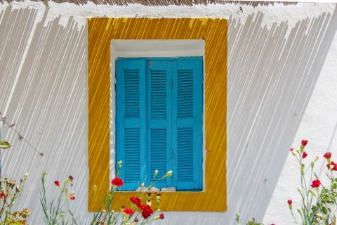 Blue-colored shutters on a white building
