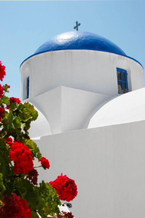 The blue-colored dome of Panagia Pantanassa church