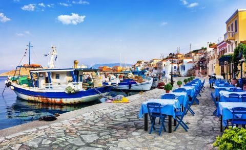A picturesque spot with taverns on Halki's port