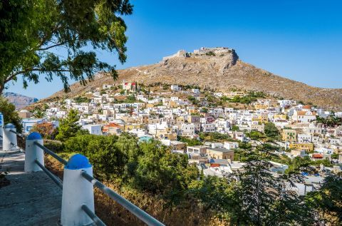 View of Pandeli village and the Medieval Castle of Leros.