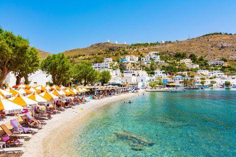 Organized beach in Pandeli village, Leros.