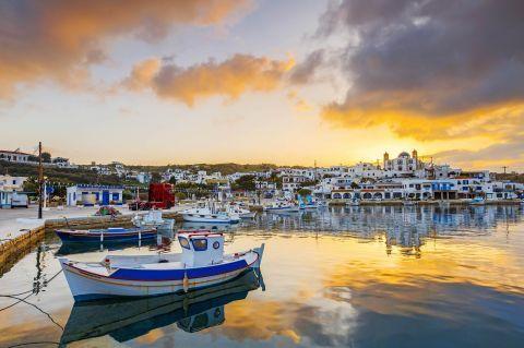 Sunset on the port of Lipsi.