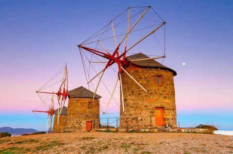 Traditional, stone-built windmills.