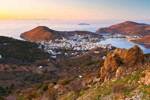 Aerial view of Chora during sunset.