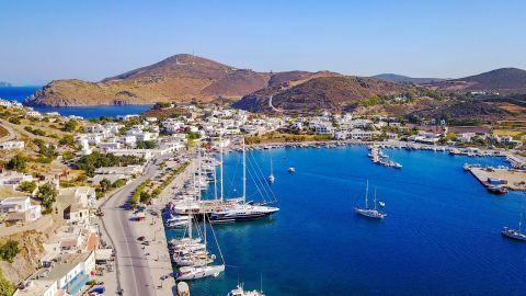View of the port of Patmos.