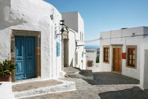 Whitewashed houses with colorful doors and shutters