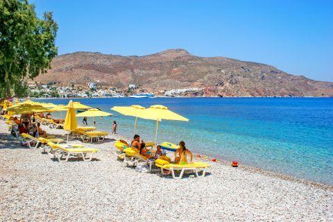 Soft pebbles, blueish waters. AN organized spot on Livadia beach