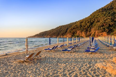 Sunset time. Paradise beach, Thassos.