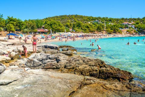 Psili Ammos beach, one of the most popular destinations on the lovely island of Thassos.