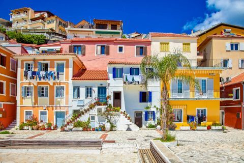 Colorful mansions in Parga