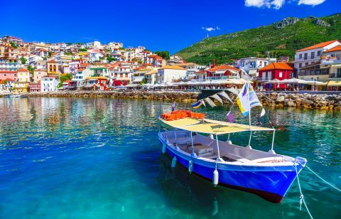 Distant view of Parga Town