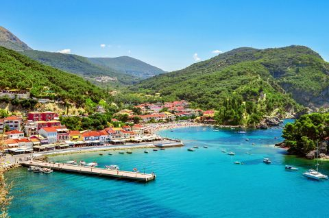 Green hills and blue waters in Krioneri, Parga.