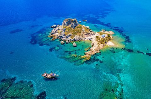 Aerial Photo of Kastri Islet is located opposite Kefalos beach in Kos
